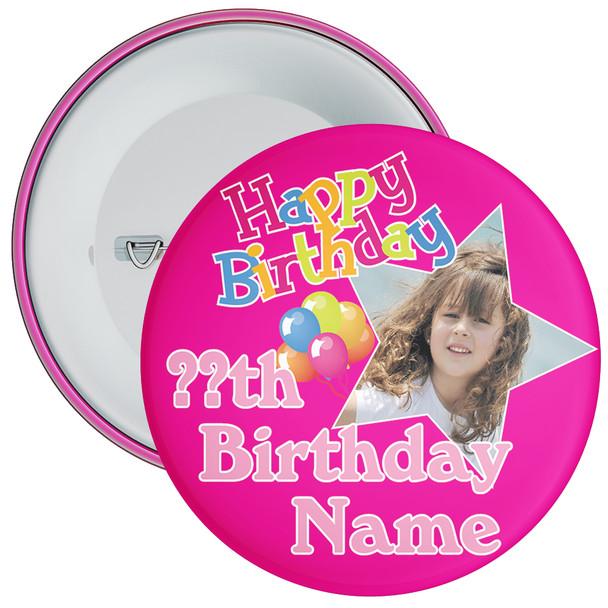 Pink Customisable Birthday Photo Badge