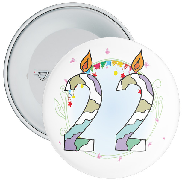 22nd Birthday Badge with Candles and Blue Background
