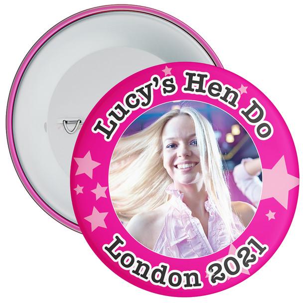 Customisable Pink Stars Hen Party Photo Badge