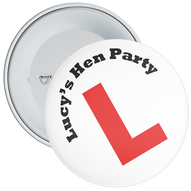 Customisable L Plates Hen Party Badge