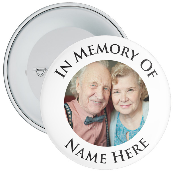 In Memory Of Photo Badge (black text)
