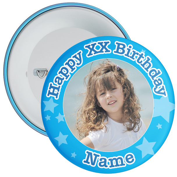 Blue Stars Customisable Birthday Photo Badge