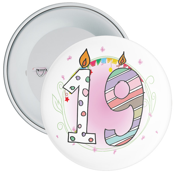 19th Birthday Badge with Candles and Pink Background