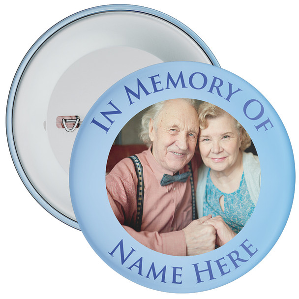 In Memory Of Photo Badge (blue)