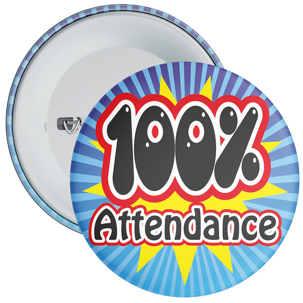 School 100% Attendance Badge with Blue Background 1