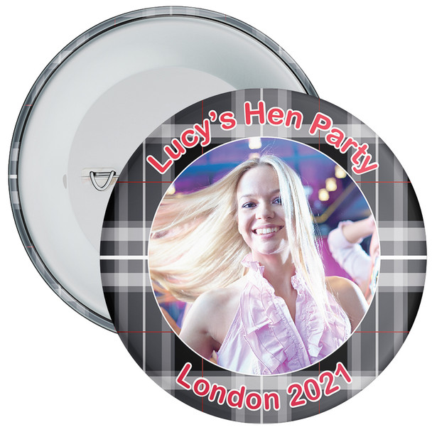 Scottish Style Tartan Hen Party Badge with Photo