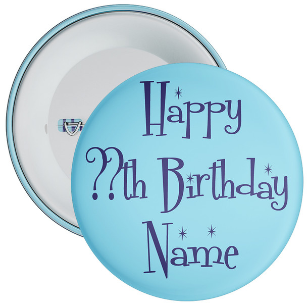 Blue Customisable Birthday Badge 2