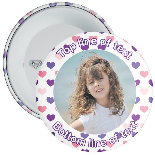 Purple & Pink Heart Border Styled Photo Badge