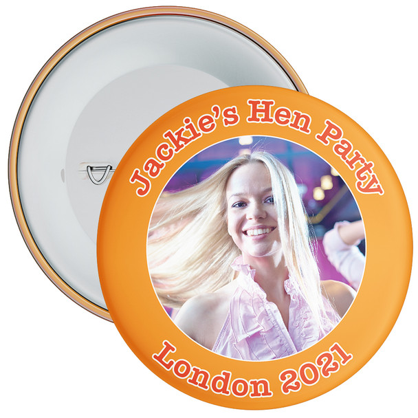 Customisable Orange Hen Party Photo Badge
