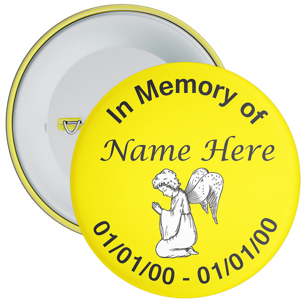 Yellow In Memory Badge with Custom Name & Dates