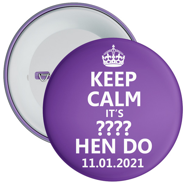 Customisable Purple Keep Calm Hen Party Badge
