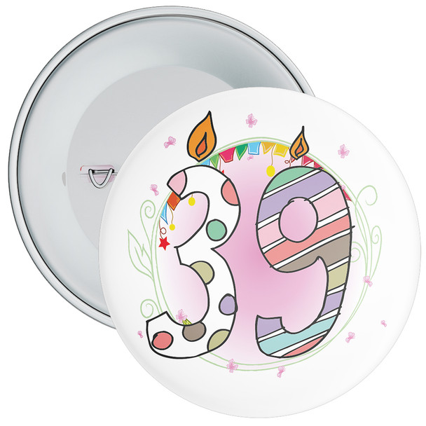 39th Birthday Badge with Candles and Pink Background