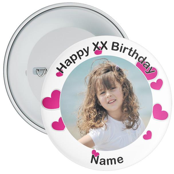 Heart Styled Customisable Birthday Photo Badge