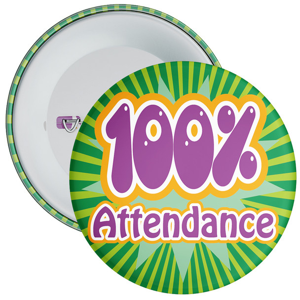 School 100% Attendance Badge with Green Background 1