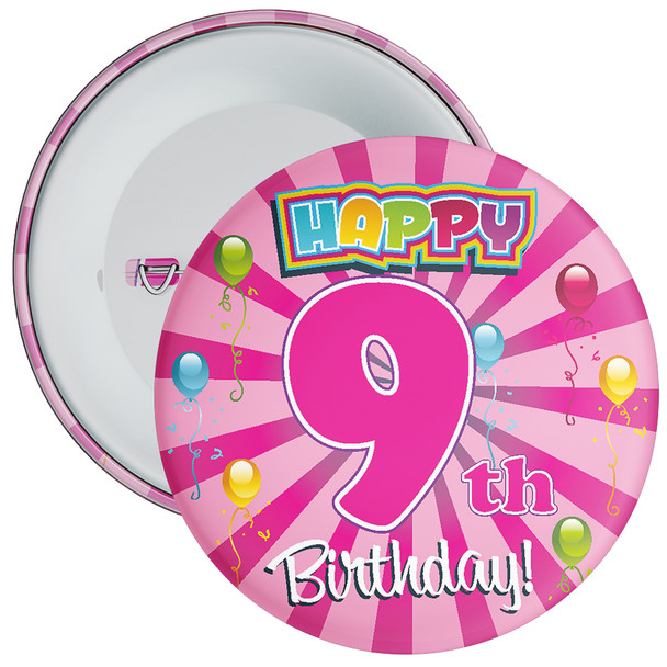 Pink 9th Birthday Badge