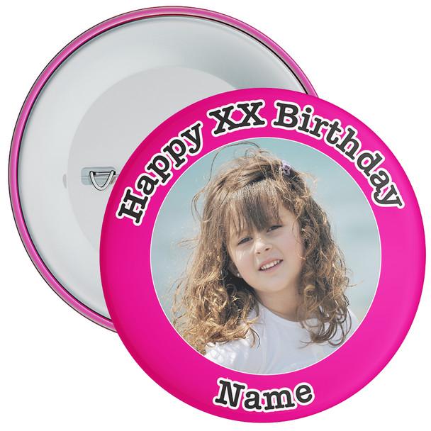 Pink Customisable Birthday Photo Badge 1