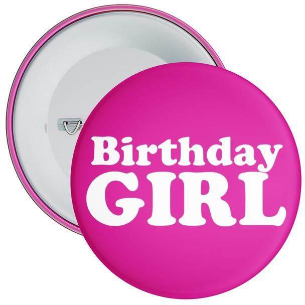 Hot Pink Birthday Girl Badge
