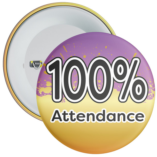 School 100% Attendance Badge with Purple/Gold Background 1