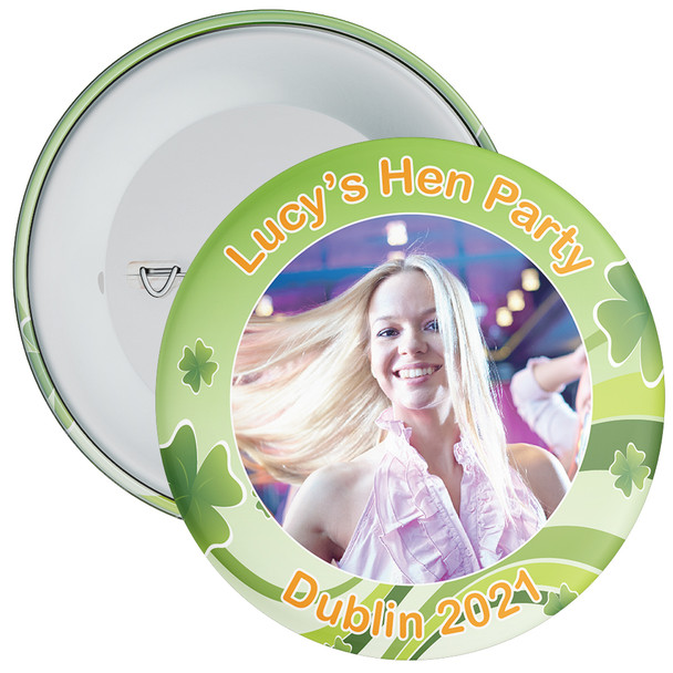 Customisable Irish Themed Photo Hen Party Badge 1