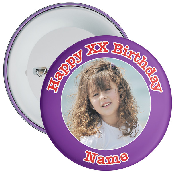Purple Customisable Birthday Photo Badge