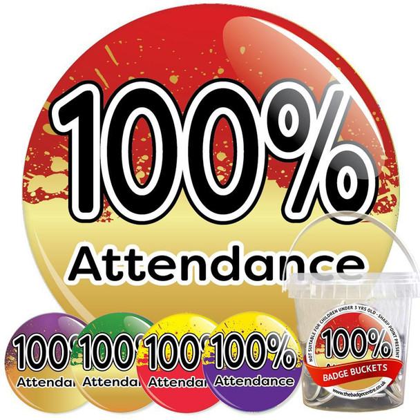Pack of 100% School Attendance Badges - Badge Bucket 31