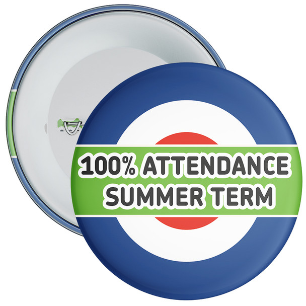 School 100% Attendance Badge Summer Term 1