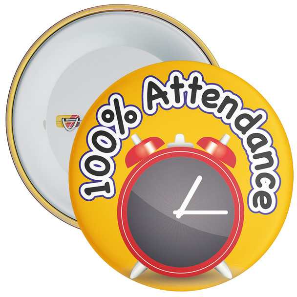 School 100% Attendance Badge with Orange Background