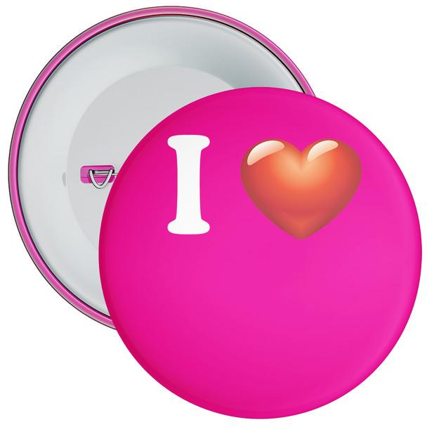 Hot Pink Custom I Love Badge