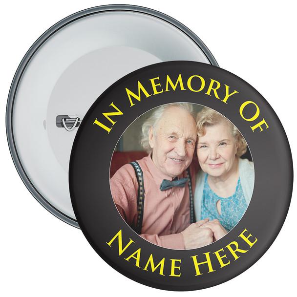 In Memory Of Photo Badge (black)