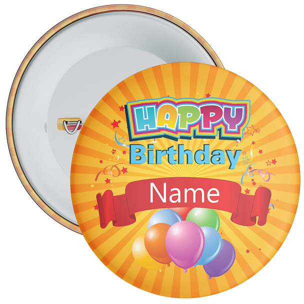 Orange Customisable Birthday Badge
