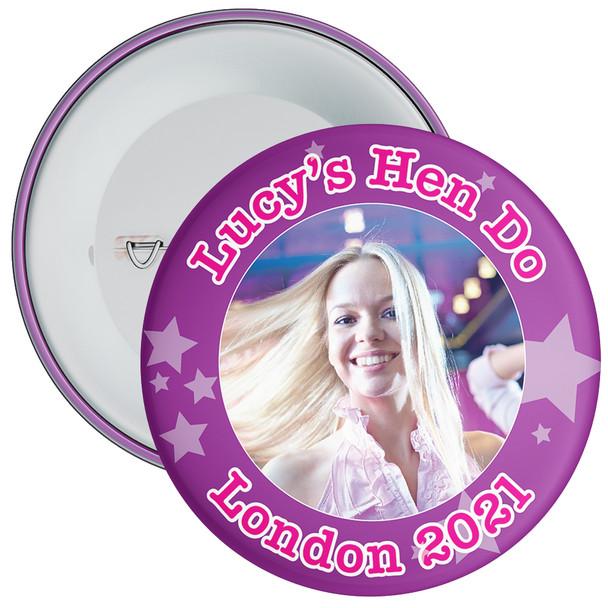 Customisable Purple Stars Hen Party Photo Badge