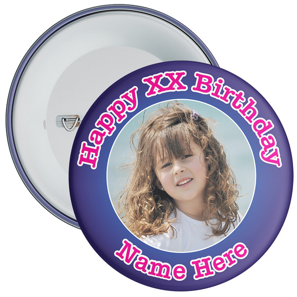Blue Customisable Birthday Photo Badge 1