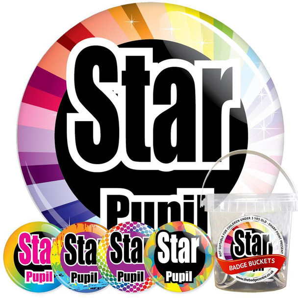 Pack of School Star Pupil Badges - Badge Bucket 30
