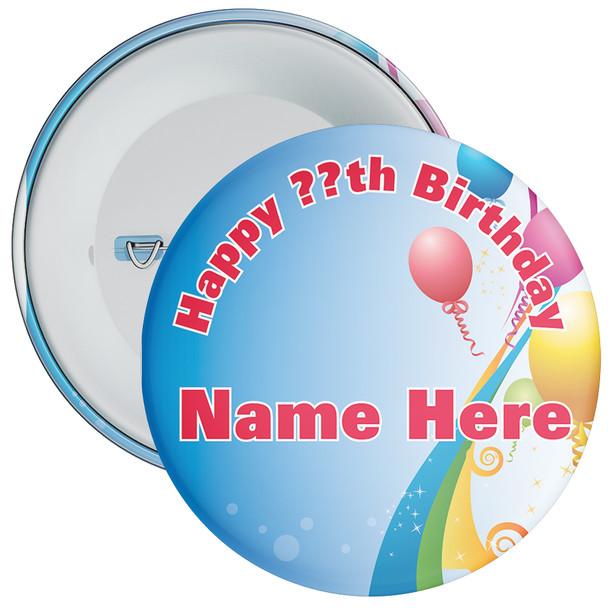 Blue Customisable Birthday Badge 1