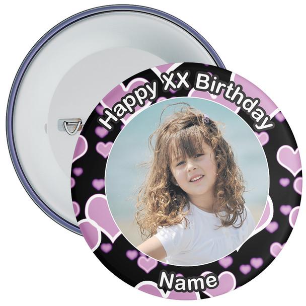Heart Styled Customisable Birthday Photo Badge 4