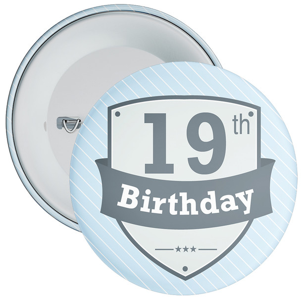 Vintage Retro 19th Birthday Badge