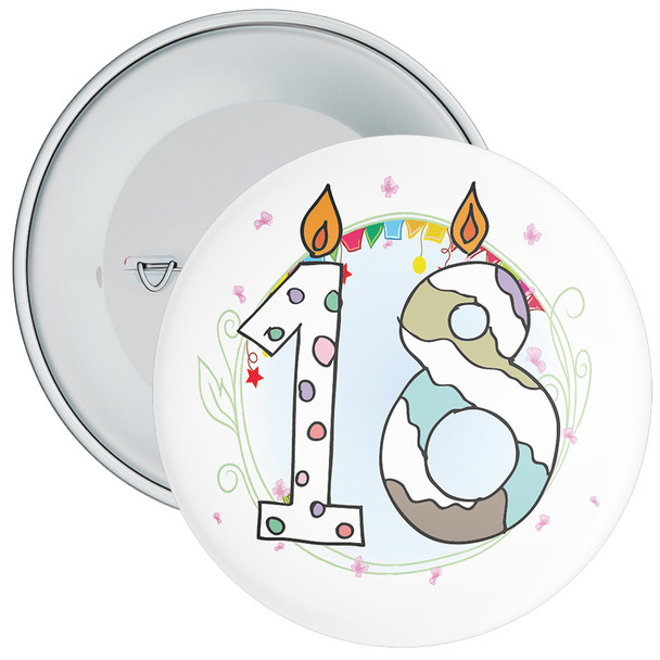 18th Birthday Badge with Candles and Blue Background