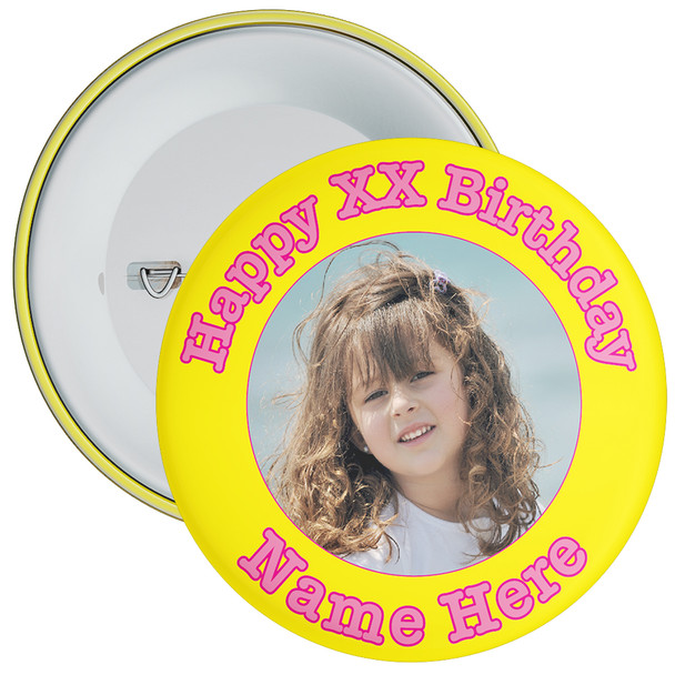 Yellow Customisable Birthday Photo Badge