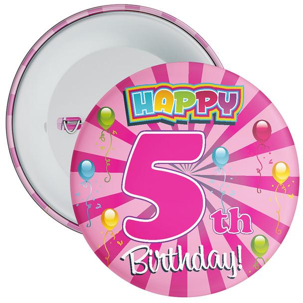 Pink 5th Birthday Badge