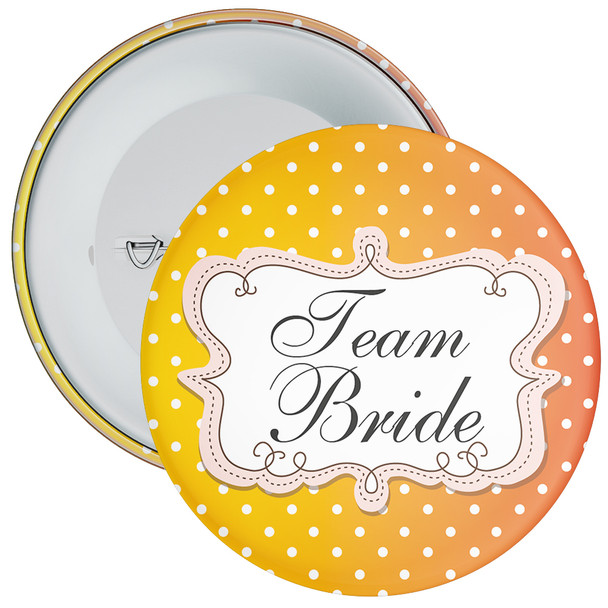 Orange Polka Dot Style Team Bride Hen Night Badge