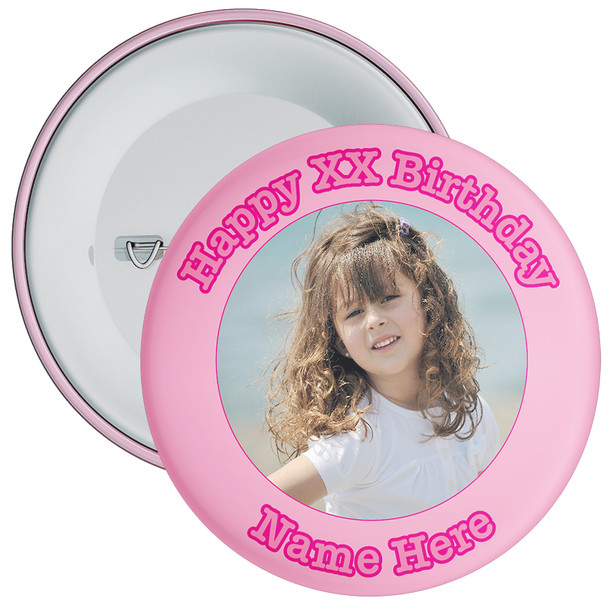 Pink Customisable Birthday Photo Badge 2