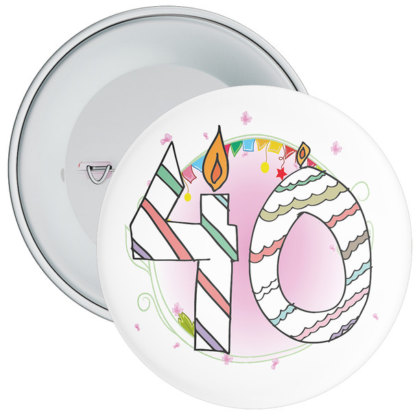 40th Birthday Badge with Candles and Pink Background