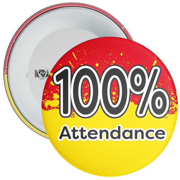 School 100% Attendance Badge with Red/Yellow Background