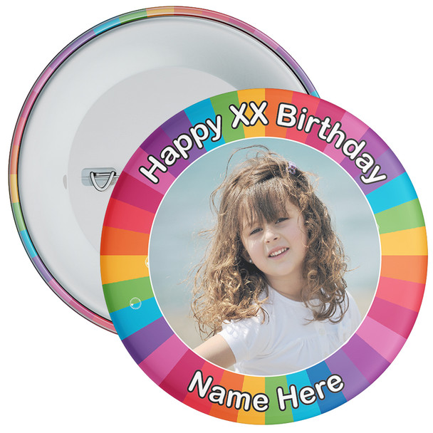 Colourful Customisable Birthday Photo Badge 3