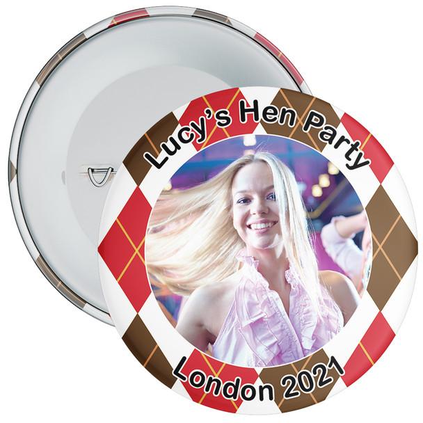 Scottish Style Tartan Hen Party Badge with Photo 3