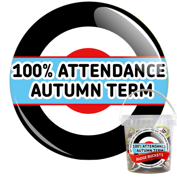Pack of 100% School Attendance Autumn Term Badges - Badge Bucket