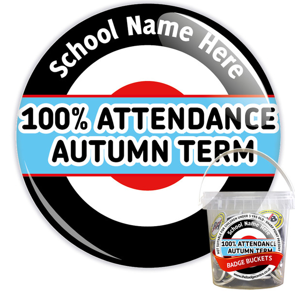 Pack of Custom 100% School Attendance Autumn Term Badges - Badge Bucket