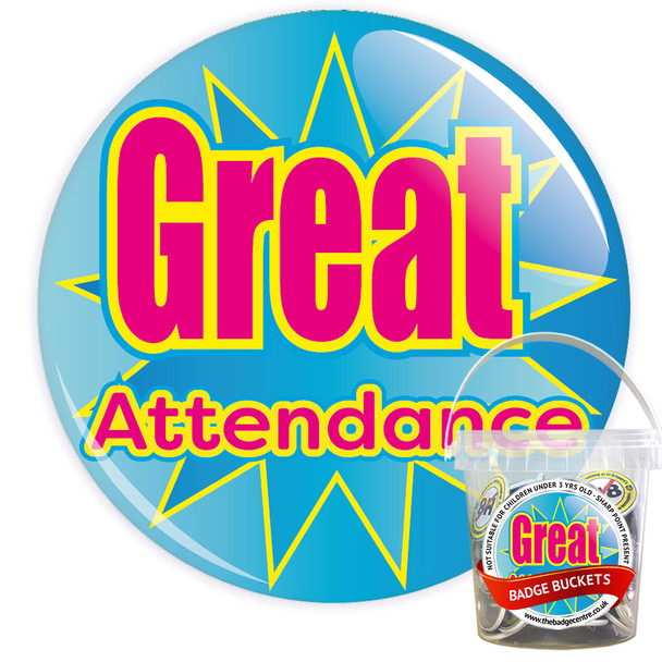 Pack of Blue Great School Attendance Badges - Badge Bucket