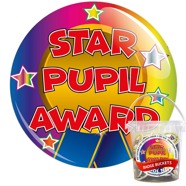 Pack of Star Pupil Award Badges - Badge Bucket