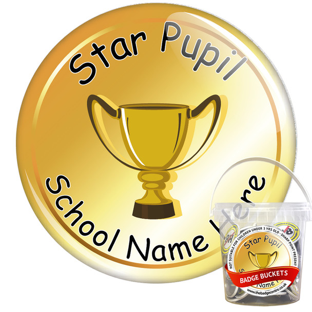 Pack of Custom Star Pupil Award Badge Bucket (75 or 200 Badge Pack) 2